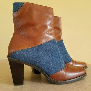 Worthington/ Shania leather & denim boot